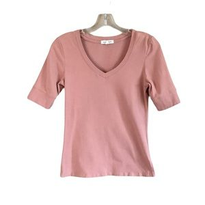 Active Basic Women Pink Fitted V-Neck Tee M
